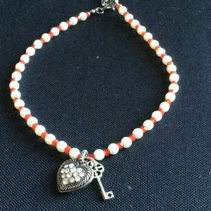 Jewelry - Red/White Bead Heart Key Necklace